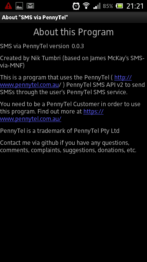 SMS-via-PennyTel - screenshot