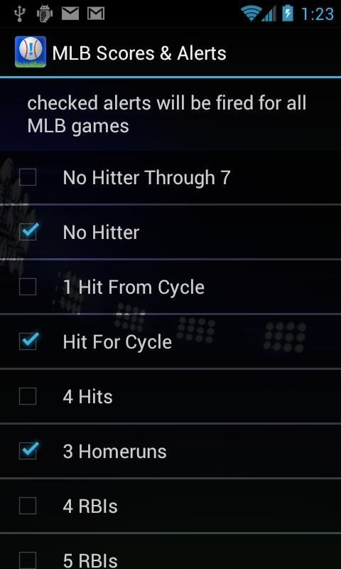 Sports Alerts - MLB edition- screenshot