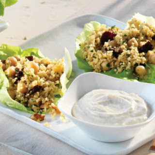 Chickpea, Cherry & Couscous Lettuce Wraps with Tahini Sauce
