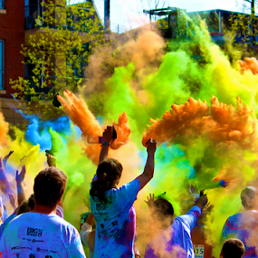 Color Storm by Jermaine Pollard - People Street & Candids ( chattanooga, orange, purple, green, riverfront, centers, tennessee, signal, periwinkle, yellow, red, color, blue, pink, downtown )