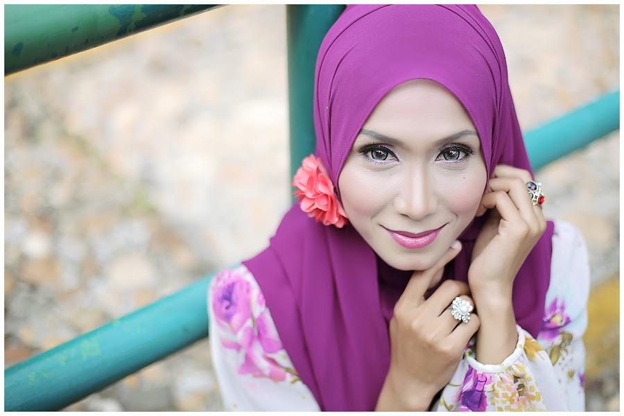 Flower Hijab by Harry Sz - People Portraits of Women ( ring, purple, smile, women, flower, eye )
