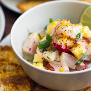 Fish & Pineapple Ceviche With Yam Chips