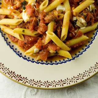 Penne with Tomatoes, Soppressata and Diced Mozzarella.