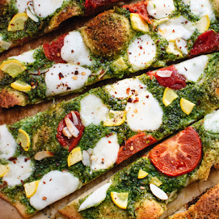 Arugula-Almond Pesto Pizza.
