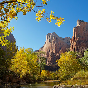 The Court of the Patriarchs by Alex Cassels - Landscapes Mountains & Hills ( zion national park, nature, utah, autumn, seasons, virgin river, court of the patriarchs, landscape, alex cassels, united states )