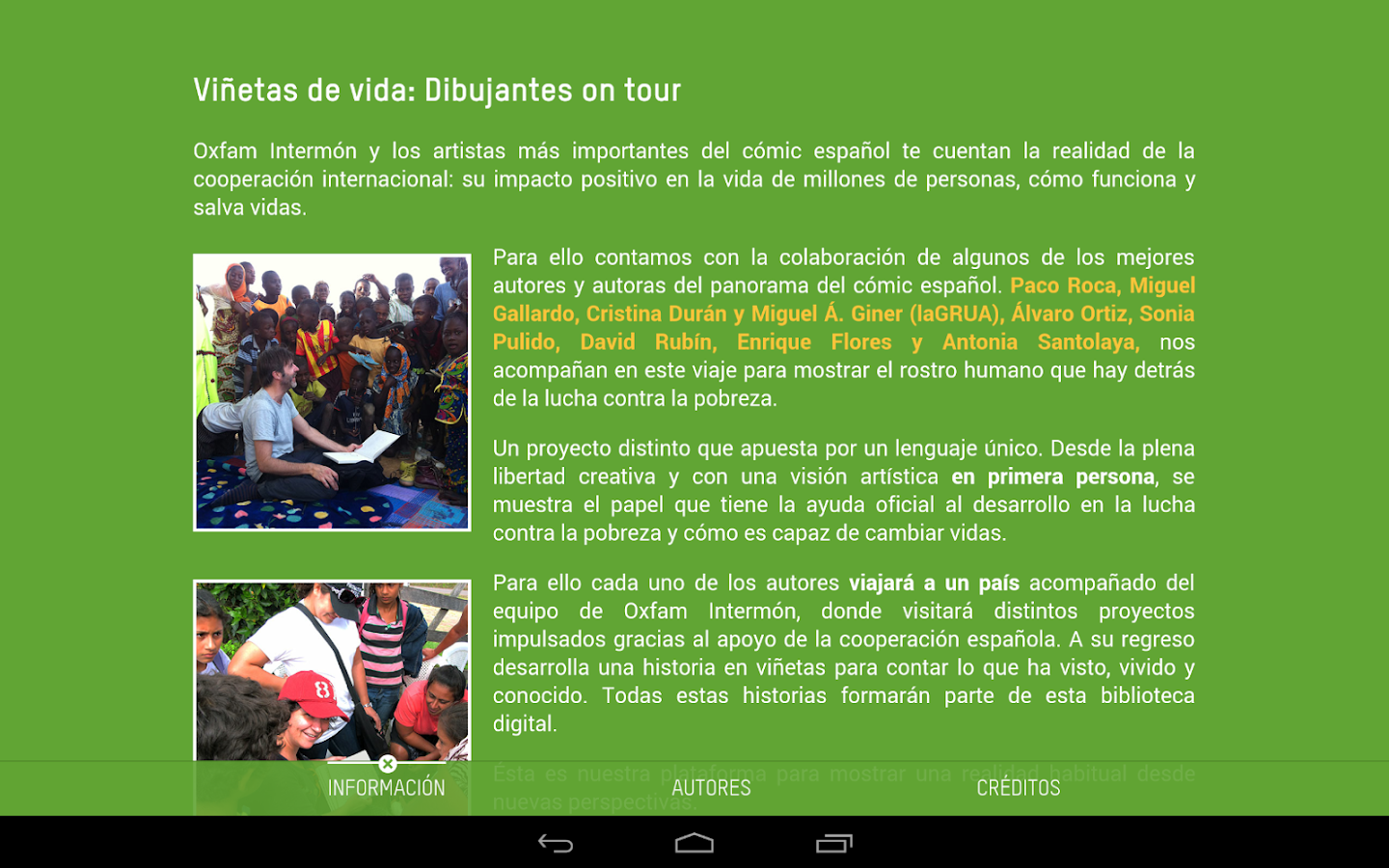 Comic On Tour. Oxfam Intermón- screenshot
