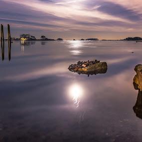 Purple Water by Jeff Klein - Landscapes Waterscapes ( water, moon, cold, norwalk, night, ocean, rowayton, landscape,  )