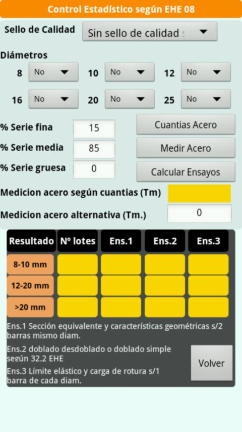 Control Calidad Hormigon EHE: captura de pantalla