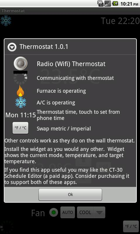 Radio Wifi Thermostat CT-30 - screenshot
