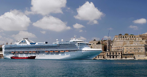 Grand-Princess-Valletta-Malta - Grand Princess at the Grand Harbour in Valletta, Malta.