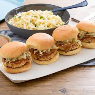 Salmon Burgers with Hoisin Mayonnaise & Asian Pear-Cabbage Slaw.