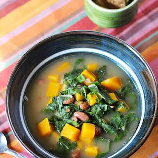 Bean, Bacon and Butternut Squash Soup with Swiss Chard.