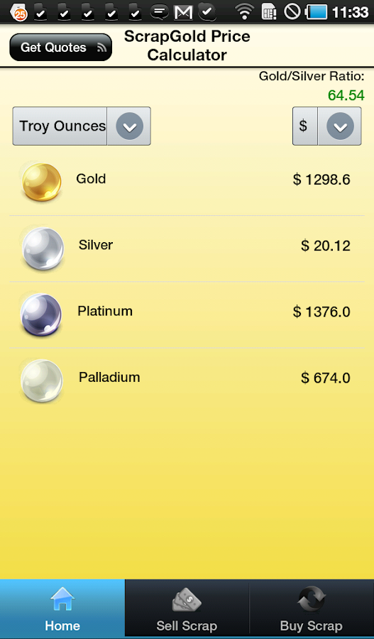 Scrap Gold Price Calculator - screenshot