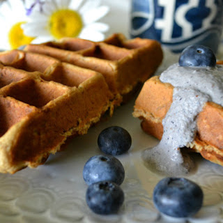 Peanut Butter-Banana Waffles with Blueberry Macadamia Cream