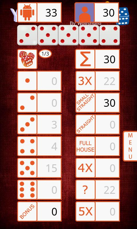 Pro Wolf's Yamb Dice Game - screenshot