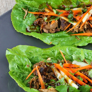 Slow Cooker Smoked Pork Lettuce Wraps with Hoisin Sauce.