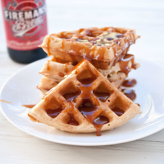 Beer Waffles with Amber Ale Caramel Sauce