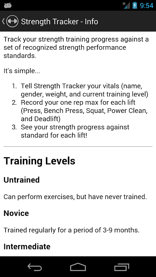 Strength Tracker- screenshot