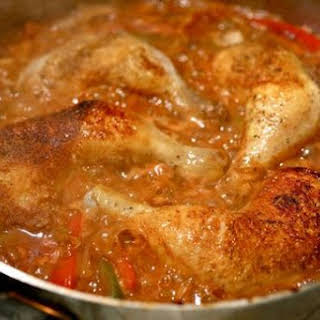 Easy Skillet Braised Chicken with Peppers and Paprika.