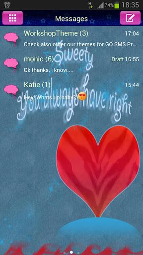 免費個人化App|GO短信主題紅心 GO SMS Theme Red Hear|阿達玩APP