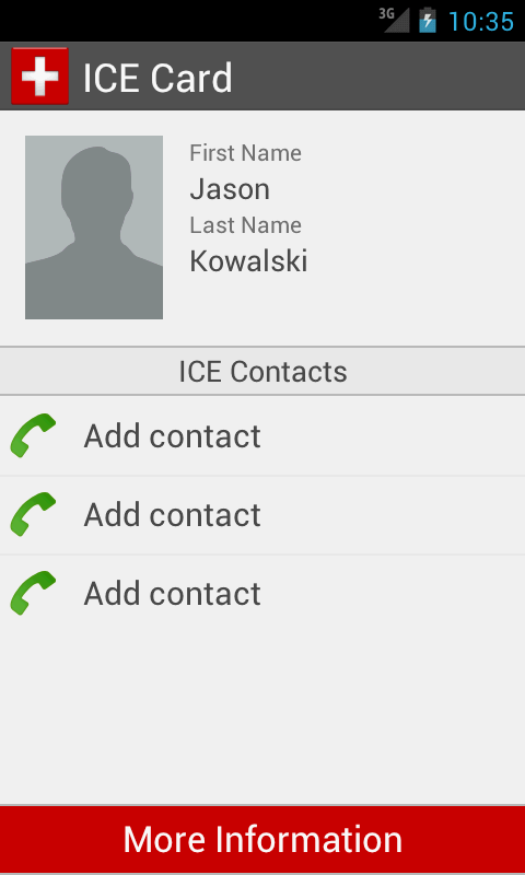 ICE Card - screenshot