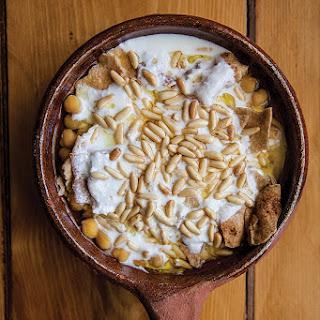 Fattet Hummus (Chickpeas with Pita and Spiced Yogurt).