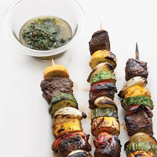 Sirloin and Summer-Vegetable Kebabs with Chimichurri.