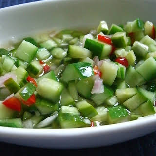 Thai Style Spicy Pickled Cucumber Relish.