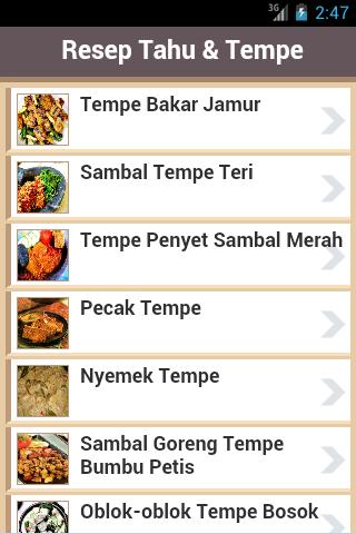 Resep Masakan Tahu Tempe