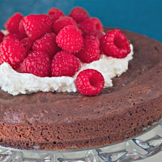 Swedish Chocolate Cake with Raspberries (Kladdkaka).