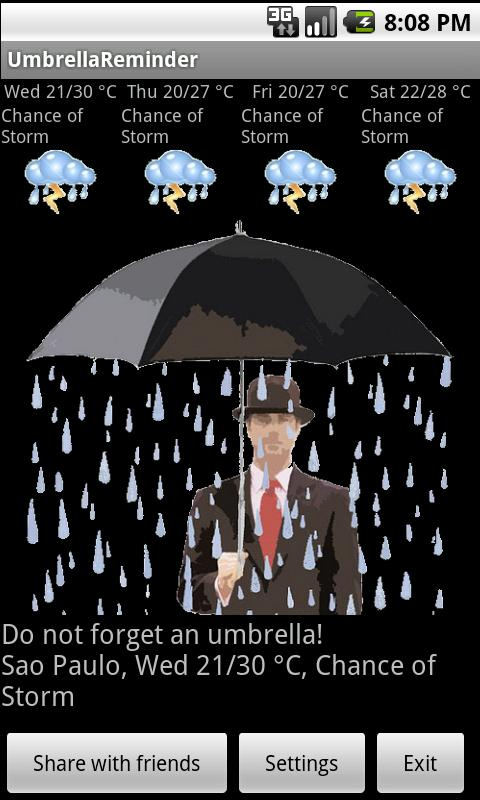 Umbrella Reminder - screenshot