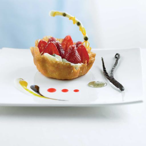 Blu Gingersnap Basket w Strawberries and Mint Diplomat - You'll be tempted by the crisp gingersnap basket filled with strawberries and mint cream dessert served in the Celebrity Cruises's Blu restaurant.