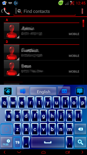 青いネオンのGOキーボードのテーマ