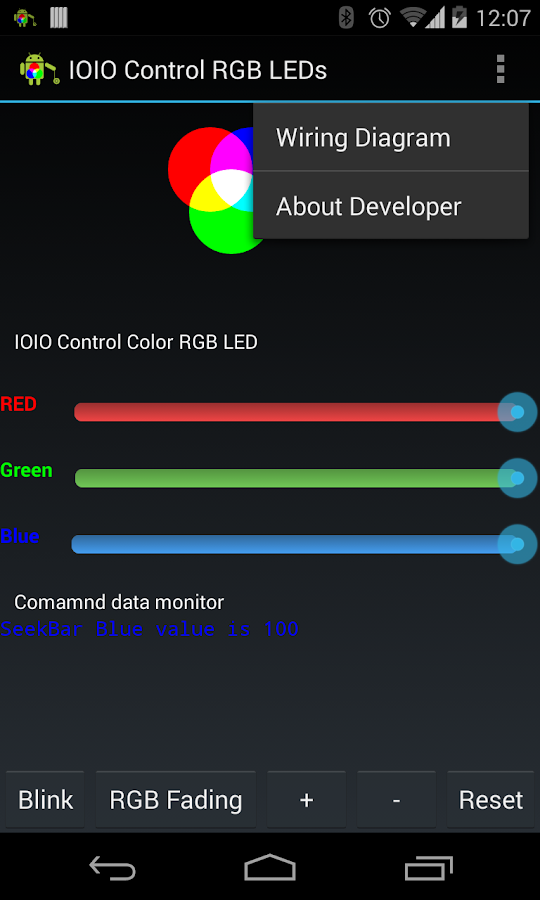 IOIO Bluetooth RGB LED Control- screenshot