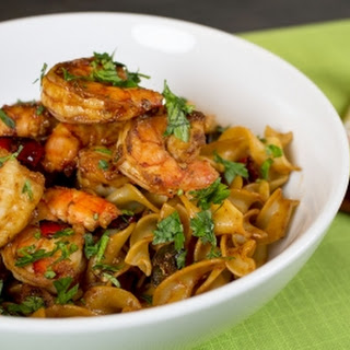 Shrimp and Egg Noodles with Spicy Garlic Chili Sauce