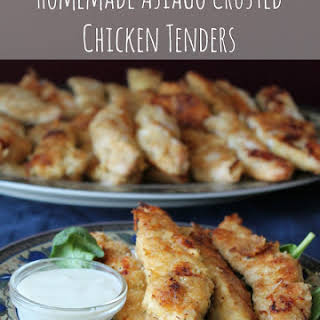 Homemade Baked Asiago Crusted Chicken Tenders.