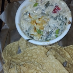 spinach artichoke dip with house made corn chips