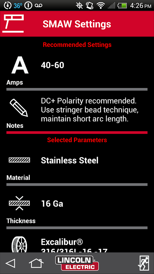 Weld Parameter Guide- screenshot