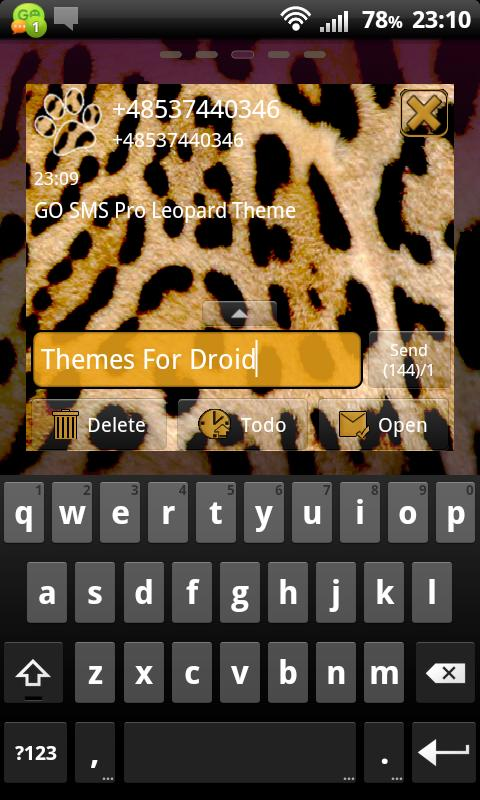 Leopard Theme for GO SMS Pro- screenshot