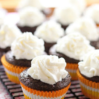 Guiness Chocolate Cupcakes with Creme de Cacao Whipped Topping.