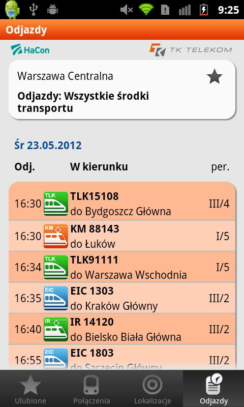 Bilkom - Train Timetable - screenshot
