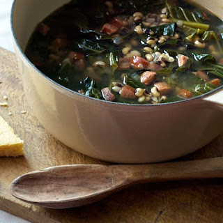 Black-eyed Pea Soup with Andouille and Collards.