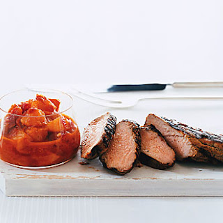 Grilled Jerk Pork with Curried Peach Relish.