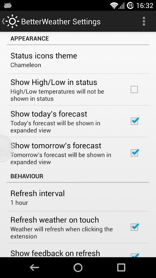 BetterWeather for DashClock - screenshot