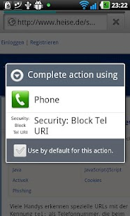 Security: Block Tel URI screenshot