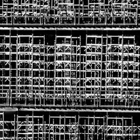 Give Support if Needed by Gerard Toney - Black & White Buildings & Architecture ( structure, building, support, scaffold, building site, beams, steel )