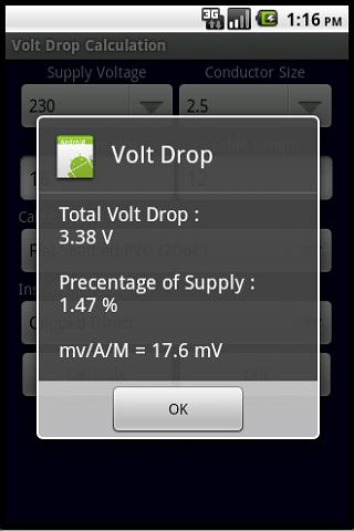 BS 7671 VOLT DROP CALCULATOR - screenshot