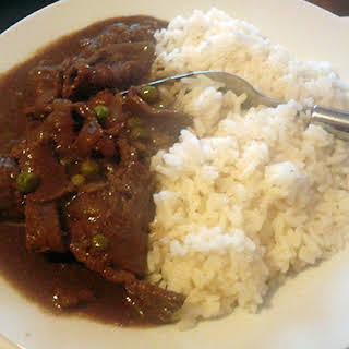 Juani's Carne en salsa (beef in gravy).