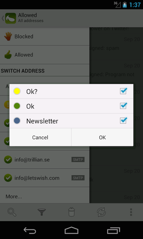 SpamDrain - email spam filter - screenshot