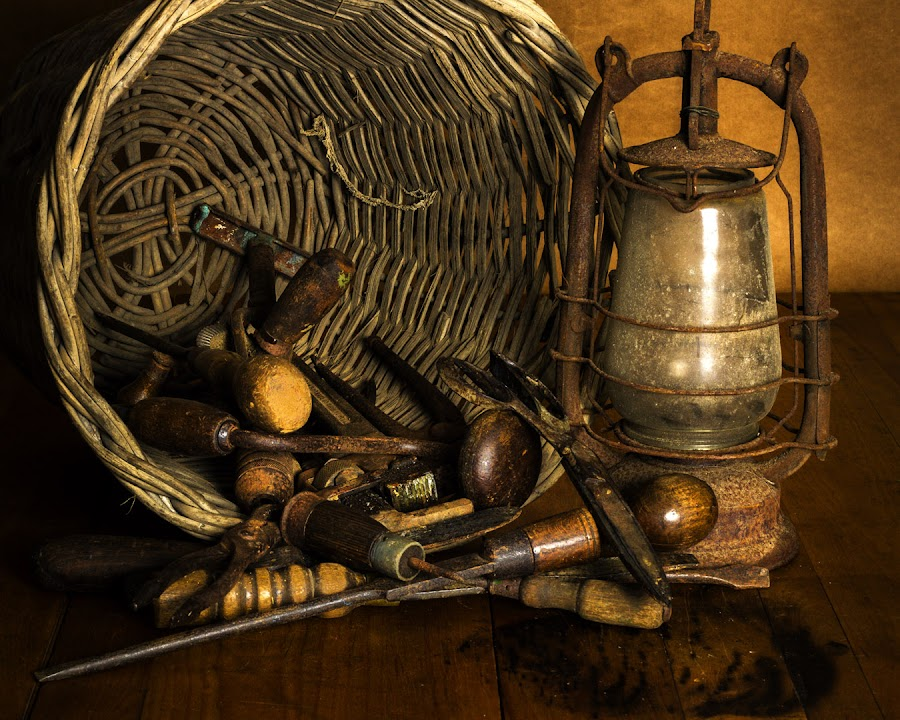 Old Implements  by Robert Johnson - Artistic Objects Still Life ( still life, lamp, basket, screw driver )